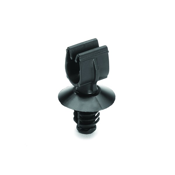 MOC Clip, 7 mm, with 6.5mm Fir Tree, PA66HIRHSUV, Black, 5000/ctn