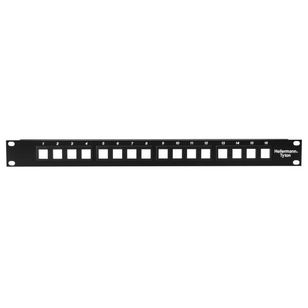 Modular Patch Panel 16 Port, 1U, Steel, Black, 1/box