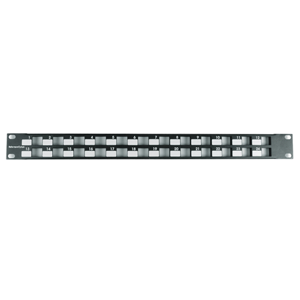 Modular Patch Panel 24 Port, 1U, Steel, Black, 1/box
