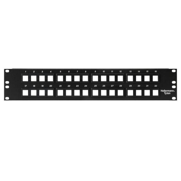 Modular Patch Panel 32 Port, 2U, Steel, Black, 1/box