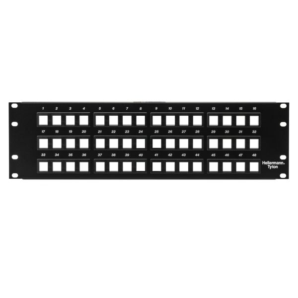Modular Patch Panel 48 Port, 3U, Steel, Black, 1/box