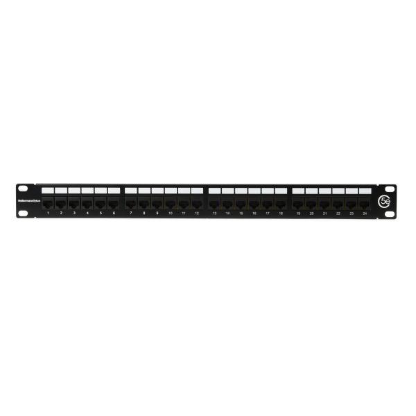 Category 5e Universal 24 Port Patch Panel, 1U, Black, 1/box