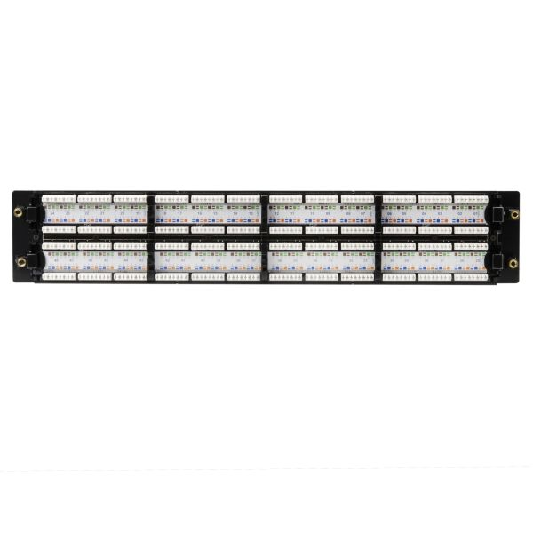 Category 6 48 Port Patch Panel With Rack-Snaps, 2U, Black, 1/box