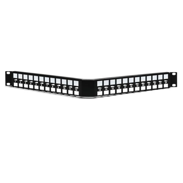 Modular Patch Panel, Angled, 24 Port, 1U, Steel, Black, 1/box