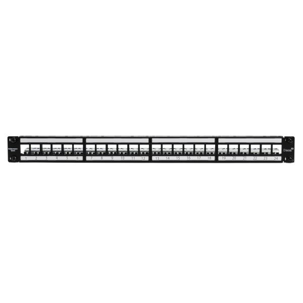 Category 6A 24 Port Shielded Patch Panel With Rack-Snaps, 1U, 1/box