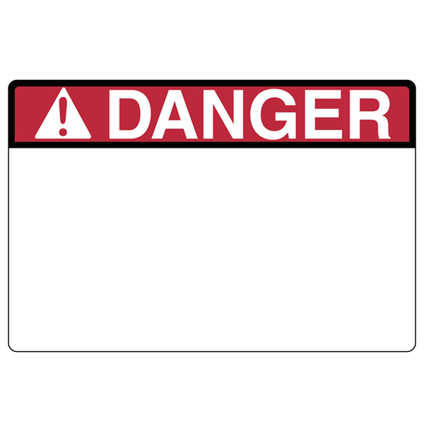 Pre-Printed Header Label, DANGER, 3.0