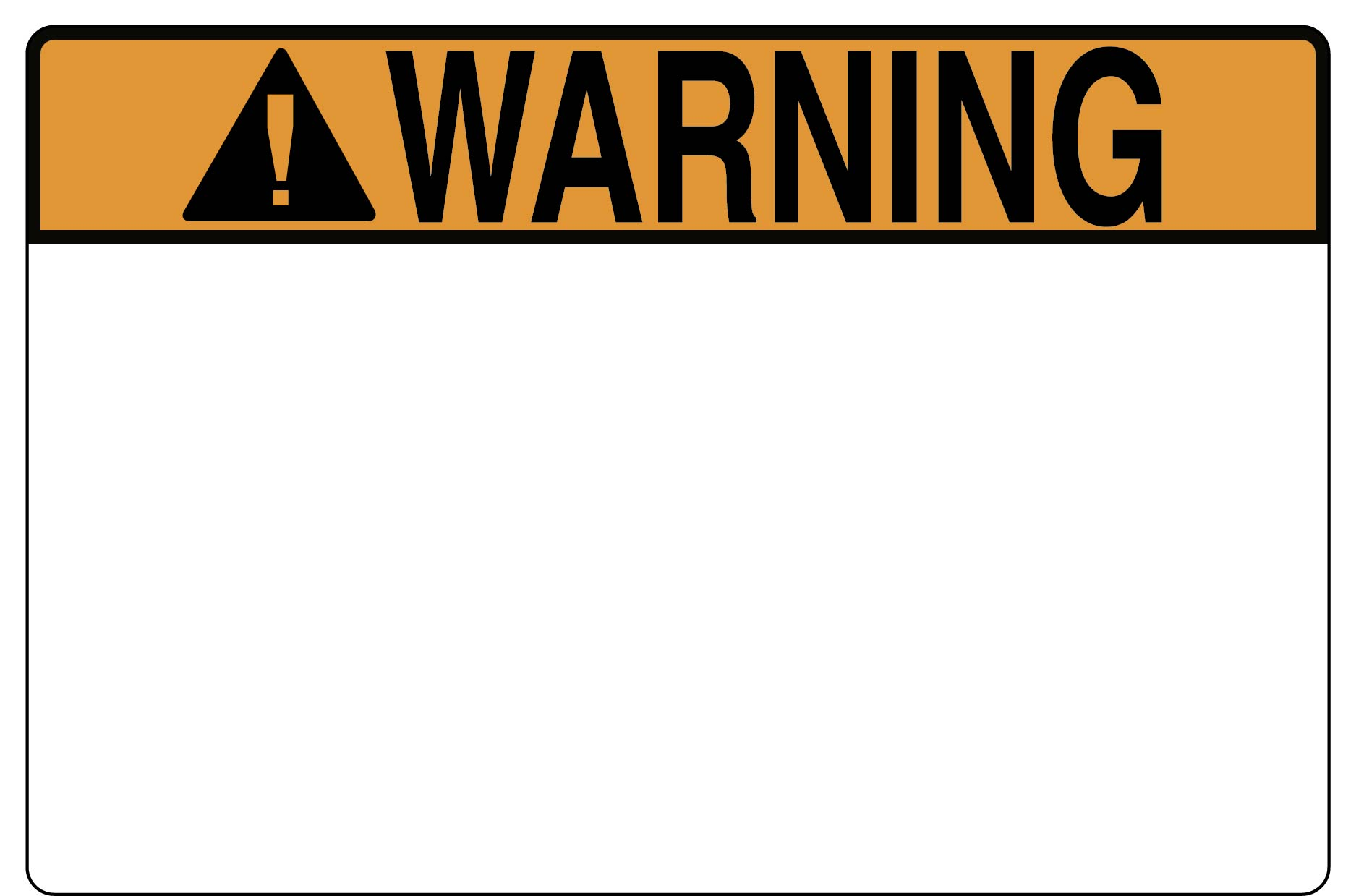 Pre-Printed Header Label, WARNING, 6.0