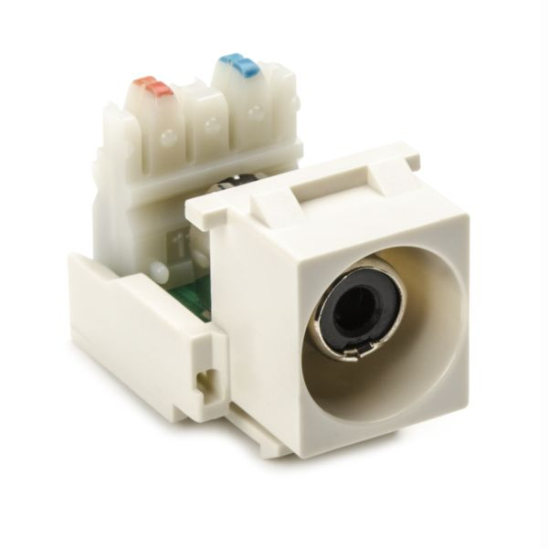 RCA-110 Connector Module With Black Stripe, Office White, 1/pkg