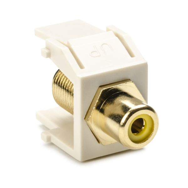 RCA-F Connector Module With Yellow Stripe, Office White, 1/pkg
