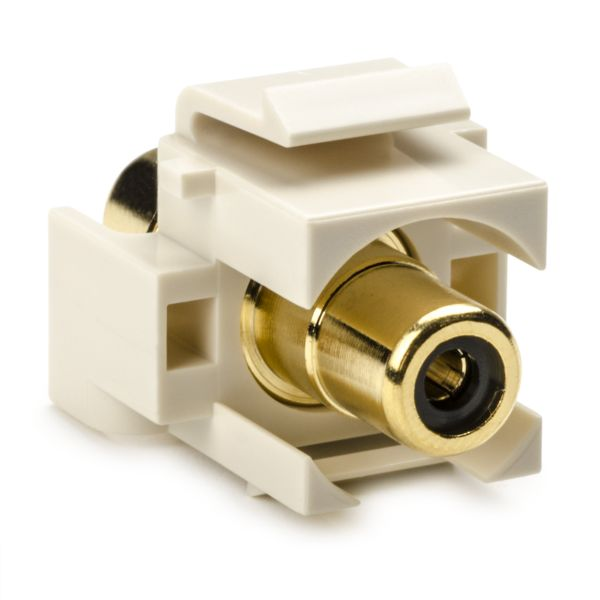 RCA Coupler Module With Black Stripe, Office White, 1/pkg
