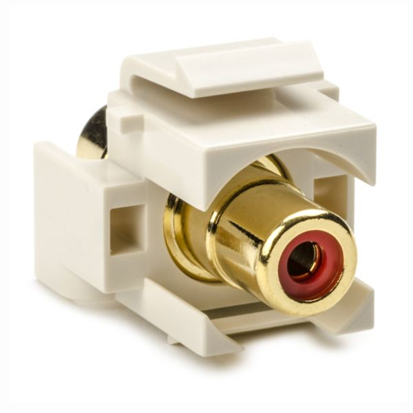 RCA Coupler Module With Red Stripe, Office White, 1/pkg