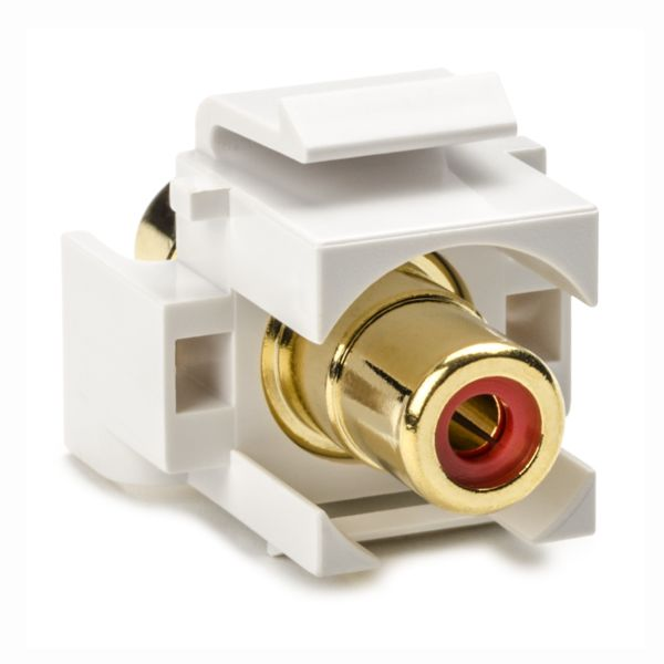 RCA Coupler Module With Red Stripe, White, 1/pkg
