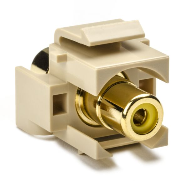 RCA Coupler Module With Yellow Stripe, Ivory, 1/pkg