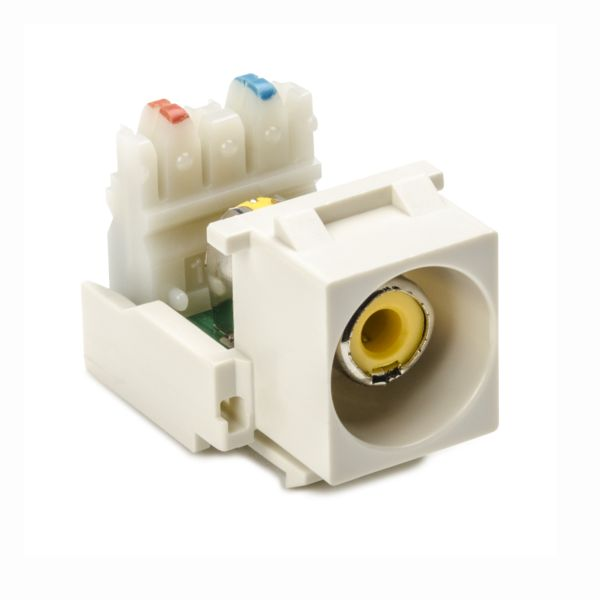 RCA-110 Connector Module With Yellow Stripe, Office White, 1/pkg