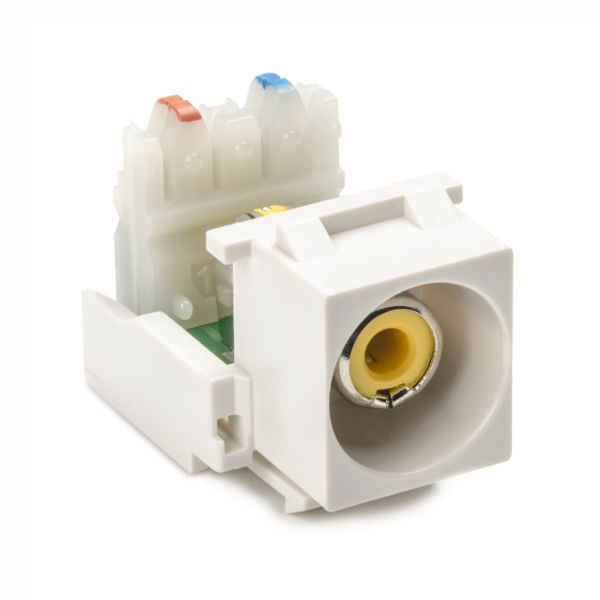 RCA-110 Connector Module With Yellow Stripe, White, 1/pkg