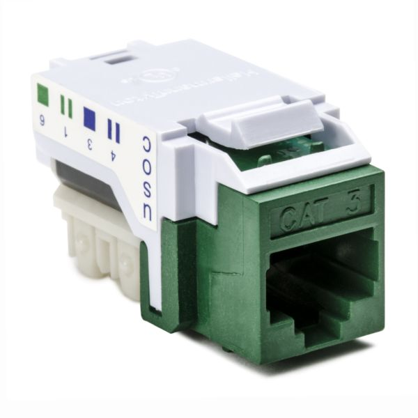 Category 3 - 6P6C RJ11 USOC Keystone Jack, Green, 1/bag