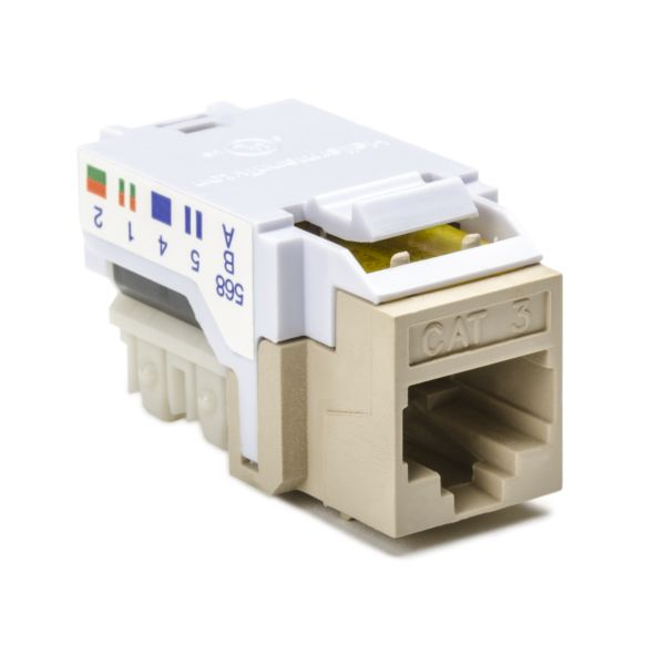 Category 3, 8P8C RJ45 Keystone Jack, Ivory, 1/bag
