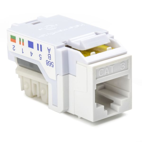 Category 3, 8P8C RJ45 Keystone Jack, White, 1/bag