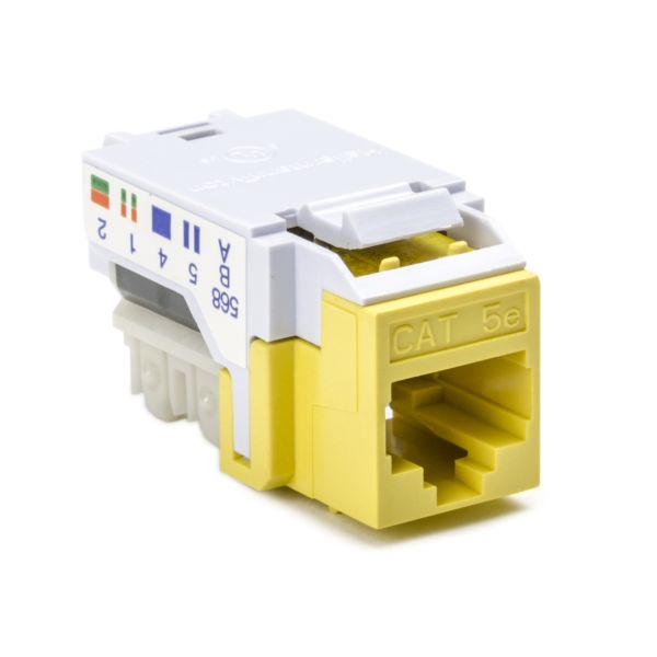 Category 5e Modular Keystone Jack, Plenum Rated, Yellow, 1/bag