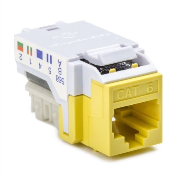 Category 6 Modular Keystone Jack, Plenum Rated, Yellow, 1/bag