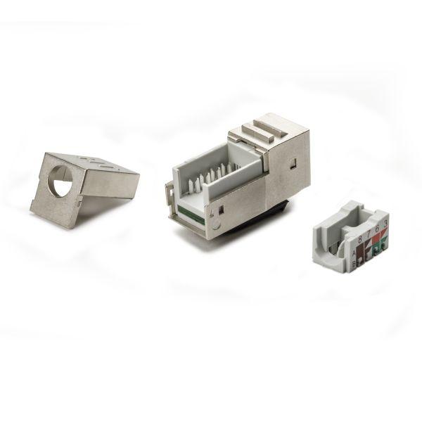 Category 6A Shielded Modular Jack Bulk Pack, Mill Finish, 12/box