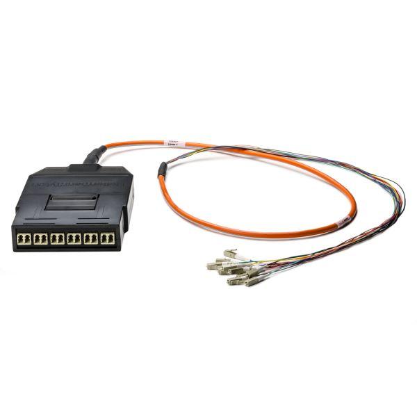 RapidNet Fiber LC Cassette to LC 900µ Fanout, OM2 MM Plenum Cable, Orange, 12-fiber (6-port), 1/ctn