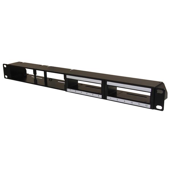 Hybrid Modular Panel for High Density Copper (2) and Fiber Cassette (2), 1U, Steel, Black, 1/ctn