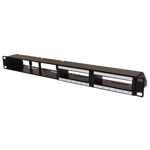Hybrid Modular Panel for High Density Copper and Fiber Cassette, Alt Ports, 1U, Steel, Black, 1/ctn