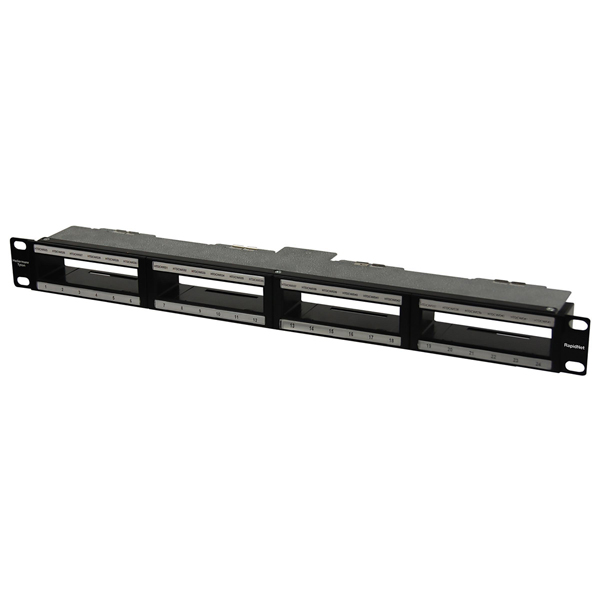RNG Series RapidNet Shielded Modular Panel with Rack-Snap for CAT 6A, 1U, 1/box