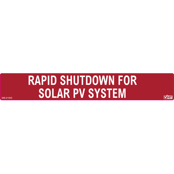 Solar Label, Reflective, RAPID SHUTDOWN FOR SOLAR PV SYSTEM, 6.5