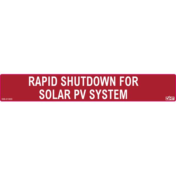 Solar Label, Reflective, RAPID SHUTDOWN FOR SOLAR PV SYSTEM, 6.5