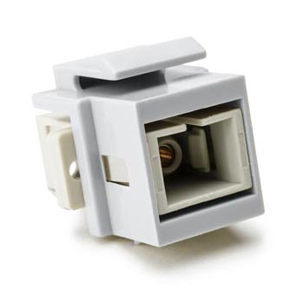 SC Multimode Fiber Insert, Beige, White, 1/pkg