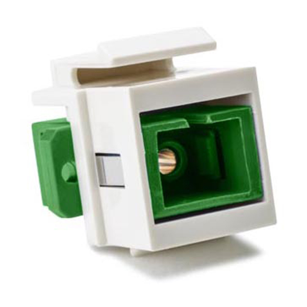 SC Single mode Fiber Insert, Green, Office White, 1/pkg