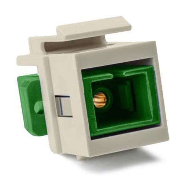 SC Singlemode Fiber Insert, Green, Ivory, 1/pkg