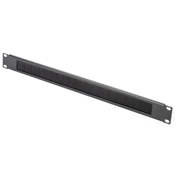 Blank Rack Panel with Pass-thru Brush, 1U, Steel, Black, 1/box