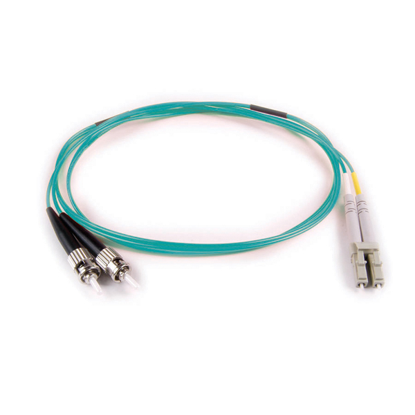 FT LC - ST Duplex OM3 Fiber Assembly, 5M, Aqua, 1/pkg