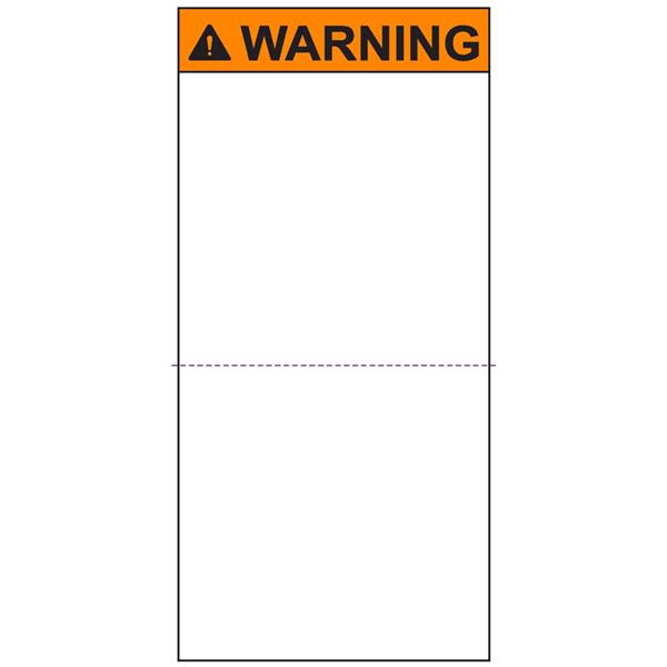 Pre-Printed Header Label, WARNING, Perforated, 2.7