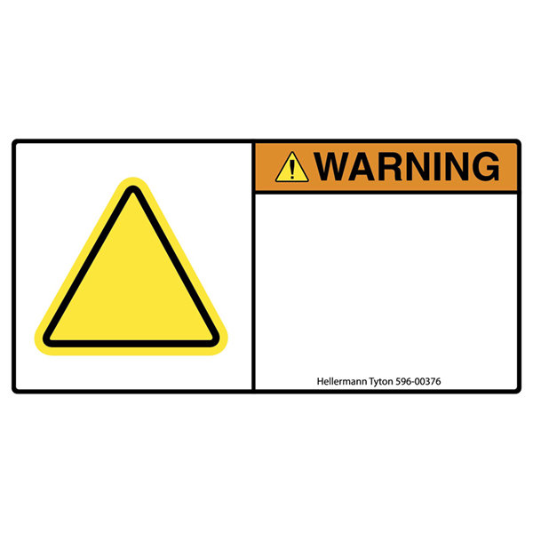 Pre-Printed Header Label, WARNING, Blank Yellow Triangle, 1.35