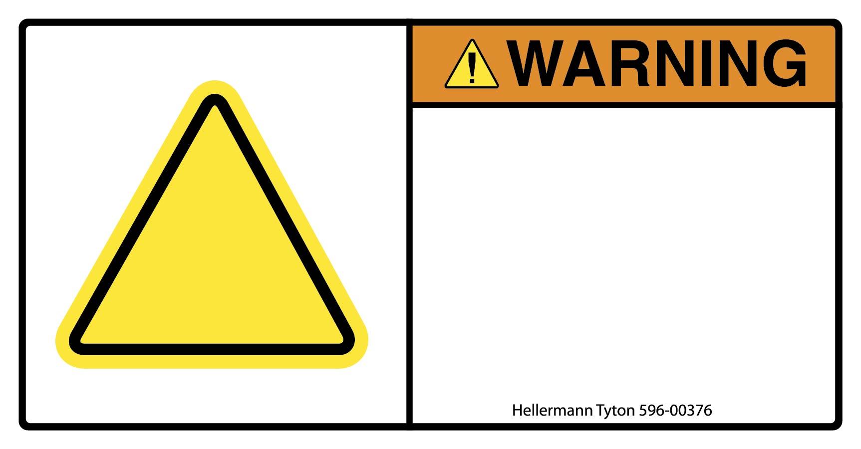 Pre-Printed Header Label, WARNING, 2.75
